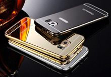 Luxury S6 Aluminum Metal + Mirror acrylic back cover case for Samsung galaxy S6 G920F battery housing,Free Gifts