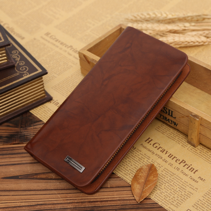 Wallet Men Leather Men Wallets Business Brand Card holder Coin Purse Men's Long Zipper Wallet Leather Clutch carteira masculina