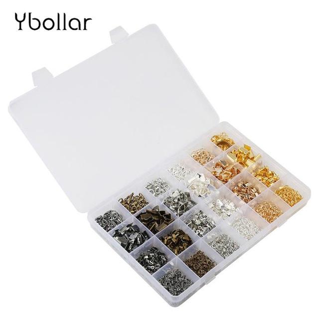 1 box jewelry findings fold over cord end crimps 리본 클램프 점프 링 랍스터 걸쇠 키트 6 색 목걸이 팔찌