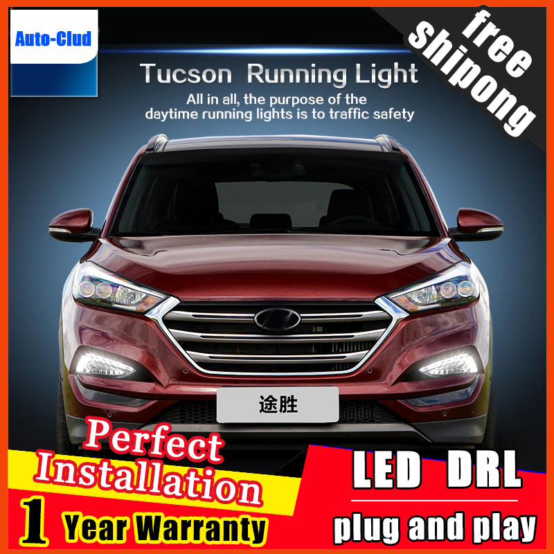 For 2015-2016 Hyundai Tucson DRL 2015 Turn Signal Tucson LED DRL Daytime Running Light Car Fog Lamp Automotive 2 function 12v car led drl daytime running light fog lamp cover with turn signal light for hyundai elantra 2016 2017