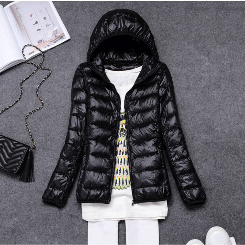Women Autumn Winter Warm Thin   Down     Coat   Ultra Light 90% White goose   down   Jacket With Bag Women's Overcoats Plus 12 Colors LQ0005