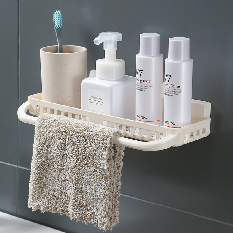 Bathroom Shelf Adhesive Lightweight Multi-functional Organizer Storage Commodity Shelf Rack For Bathrooms Balcony Kitchen Bathroom Fixtures Bathroom Shelves