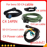 For benz MB star C4 SD CONNECT COMPACT 4 C4 Star Diagnosis car truck tool cable 4pc/set cable obd2 16pin with lan cable