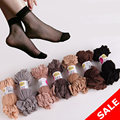 20 unids summer mujeres calcetín de algodón suave cómodo de seda pura malla elástica de punto volante de corte transparente tobillo elástico calcetines cortos mujeres