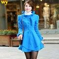 2016 novos chegada de moda Coreana magro ruffles gola único breasted casaco de lã plus size casaco de primavera revestimento das mulheres de espessura M0557