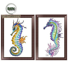 5d diy Diamond Painting Cross Stitch Picture Rhinestone Figure Sea Horse Diamond Embroidered Diamond Mosaic Pattern 3d diy diamond painting horse square rhinestone diamond embroidered mosaic mosaic stitch crafts luovizem l149
