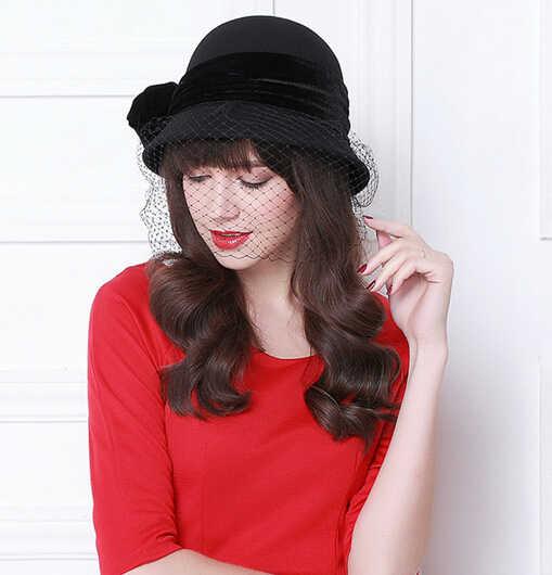 d4def7a3b4721 ... Vintage Women Wool Bucket Felt Veil Hat Party Wedding Velvet Bow Cloche Cap  Elegant Black Wine ...