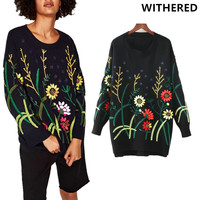 Withered 2017 Winter Sweater Women High Street Vintageplant Jacquard Embroidery O Neck Loose Women Sweaters And