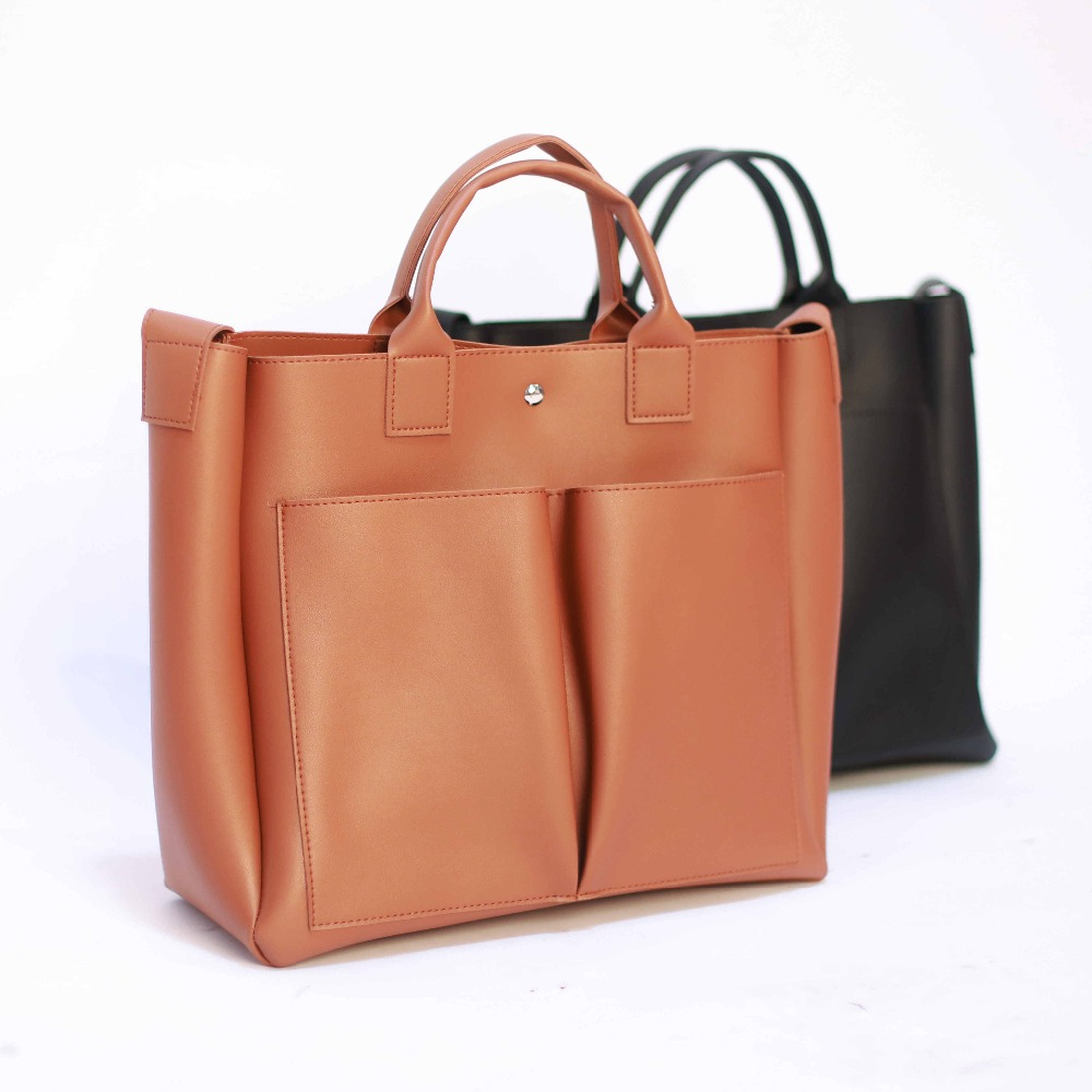 Image 2 - 2019 new Pu Leather Bag Simple Handbags Famous Brands Women Shoulder Bag Casual Big Tote Vintage Ladies Crossbody Bags-in Top-Handle Bags from Luggage & Bags