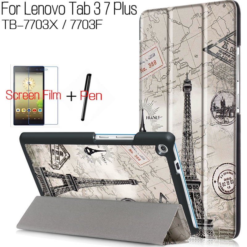Fashion Coloful Smart PU Leather Cover for Lenovo Tab 3 7 Plus TB-7703X/7703F 7.0 inch Tablet Funda Case+Free Screen Film+Pen magnetic stand smart pu leather cover for lenovo tab 4 8 tb 8504f 8504n 8 0 tablet funda case free screen protector stylus pen