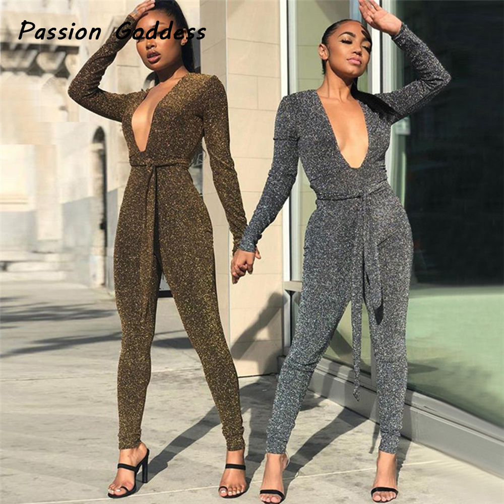 3b1abedbb16 Detail Feedback Questions about Party Women Sexy Silk Bling Bling Long  Jumpsuits Romper Long Sleeve Outfits Overalls Bow knot Bandage Waist Deep V  Neck ...