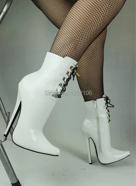 e05f5ec8291 Wonderheel Extreme high heel patent white 18cm Stiletto Heel Fetish sexy  Ankle LACE UP fashion show