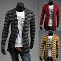 2016 New Style Stripes spell color Men cardigan Long Sleeve Slim Fit Cardigan ClothingM-2XL