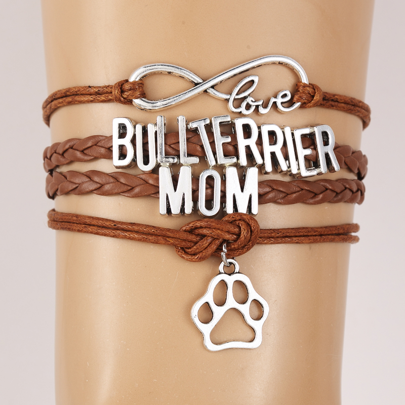 NCRHGL Infinity Love Bull Terrier Mom Rope Bracelet Dog Paw Charm Braided Bracelets Bangles For Women Men Jewelry Drop Ship