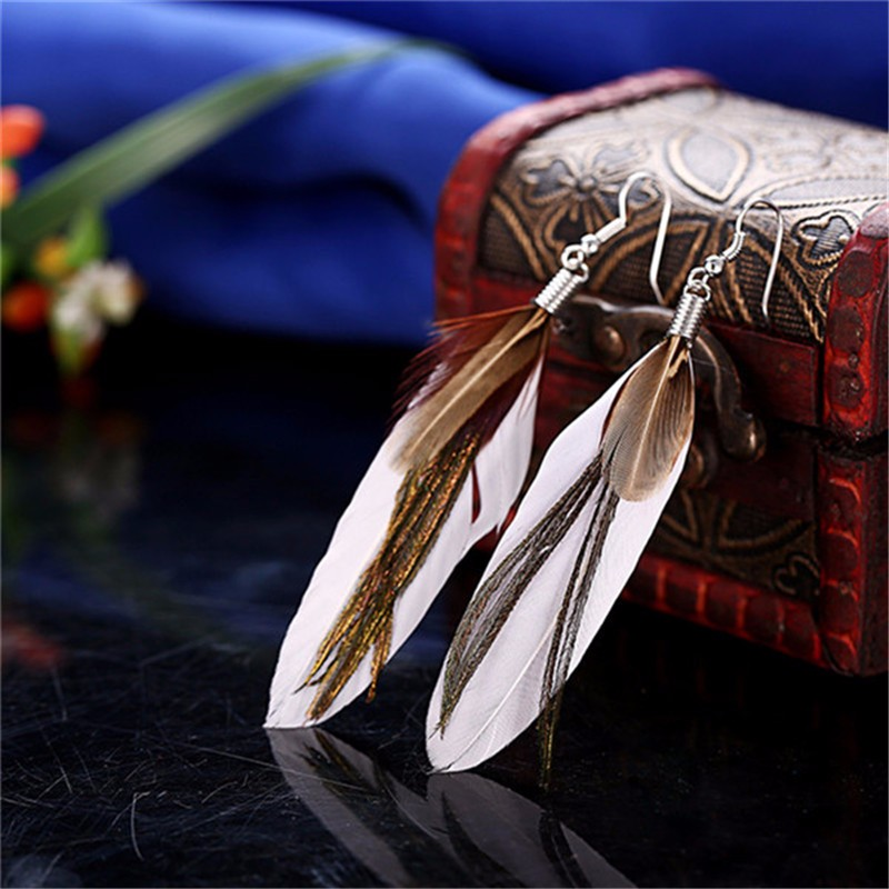 2017 New Arrival Fashion Vintage Feather Long Drop Earrings For Women Beautiful Earrings Birthday Gift