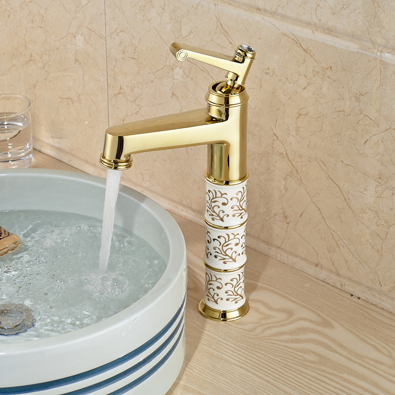 Luxury Brass Countertop Single Handle Hot Cold Bathroom Basin Sink Mixer Tap Faucet Gold Plated free shipping toilet tap bathroom faucet gold plated ceramic handle basin tap sink faucet brass tap with hot