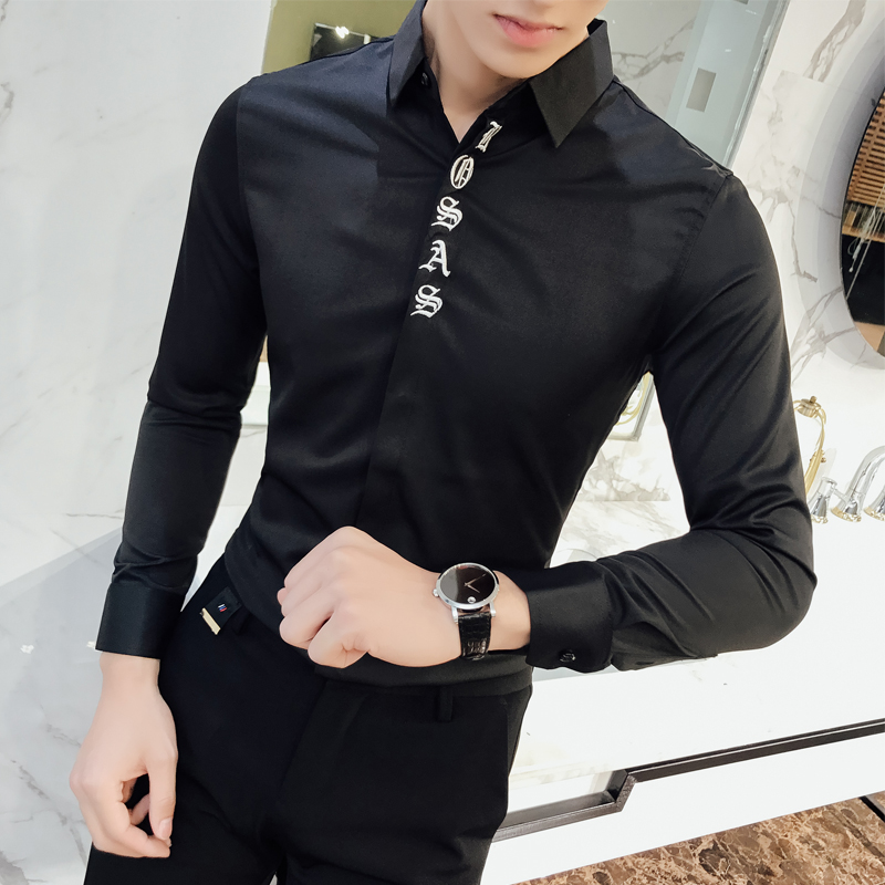 Camisa Masculina Slim Fit Shirt Men 2018 Spring Long Sleeve Embroidery Business Mens Work Shirts Casual Social Blouse Homme 2XL