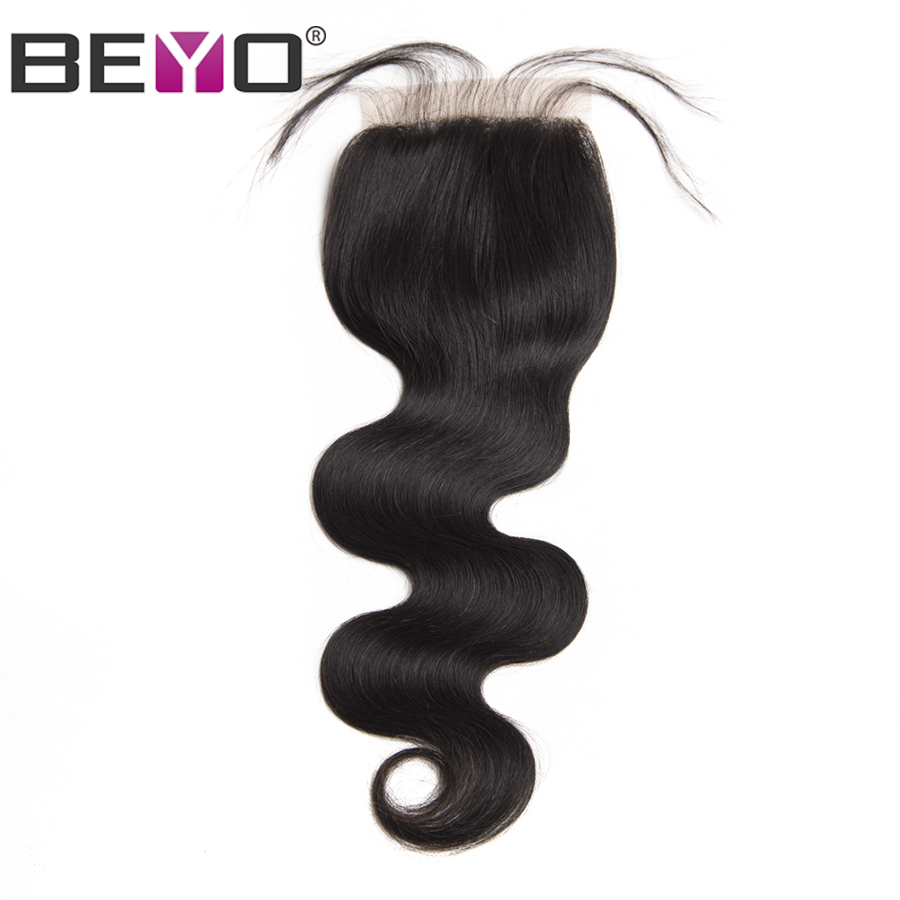 Beyo Malaysian Body Wave Lace Closure With Baby Hair 100% Human Hair 4x4 Free Part Non-Remy Hair Natural Color Free Shipping