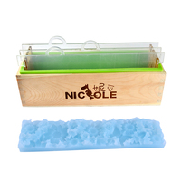 Silicone Soap Mold with Transparent Vertical Acrylic Clapboard & Flower Mat Rectangular Handmade Loaf Soap Making Tool