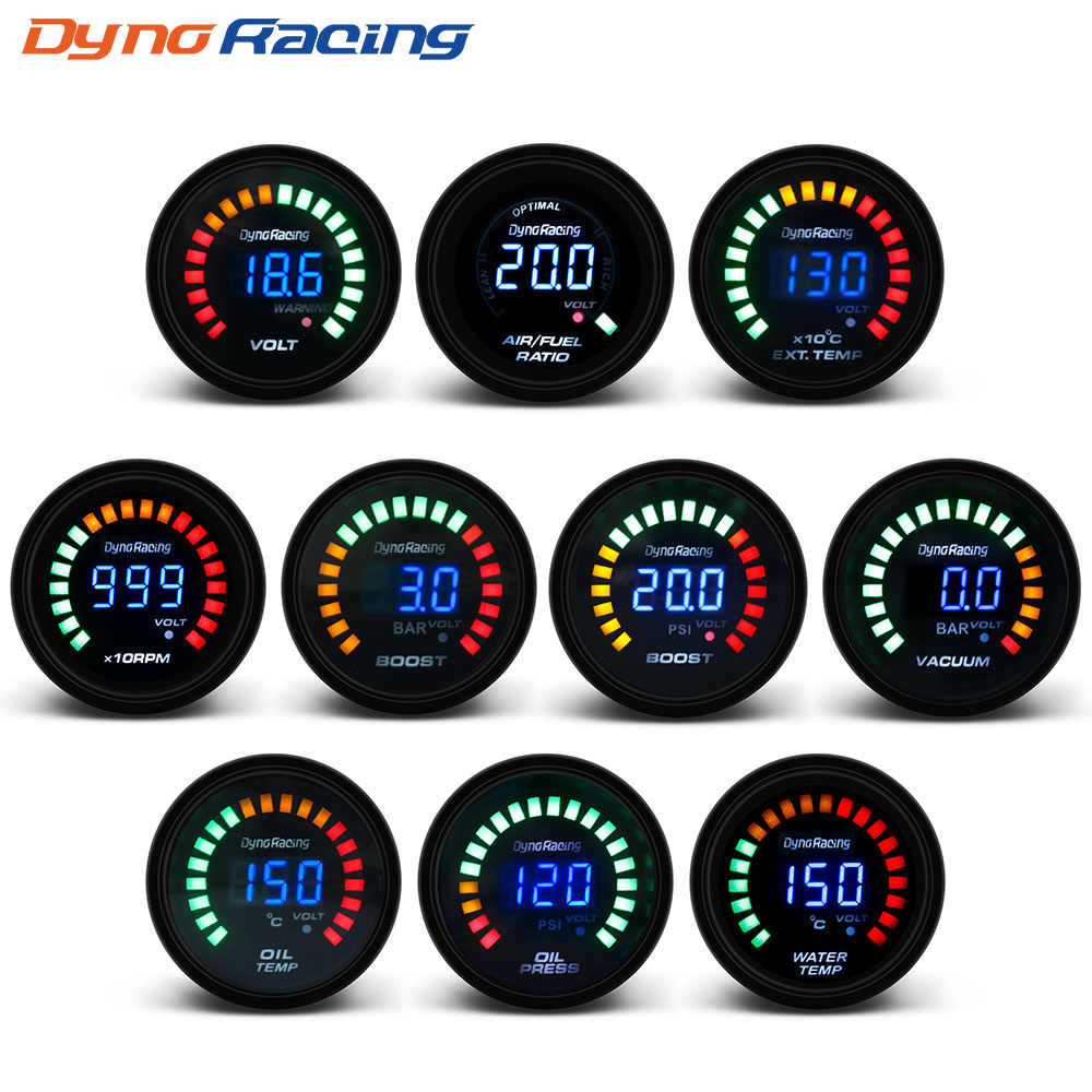 "Dynoracing 2 ""52 Mm Digital 20 LED Meningkatkan Bar Psi Vakum Suhu Air Suhu Minyak Minyak Voltmeter Air /Bahan Bakar Rasio EGT Temp Gauge Rpm"