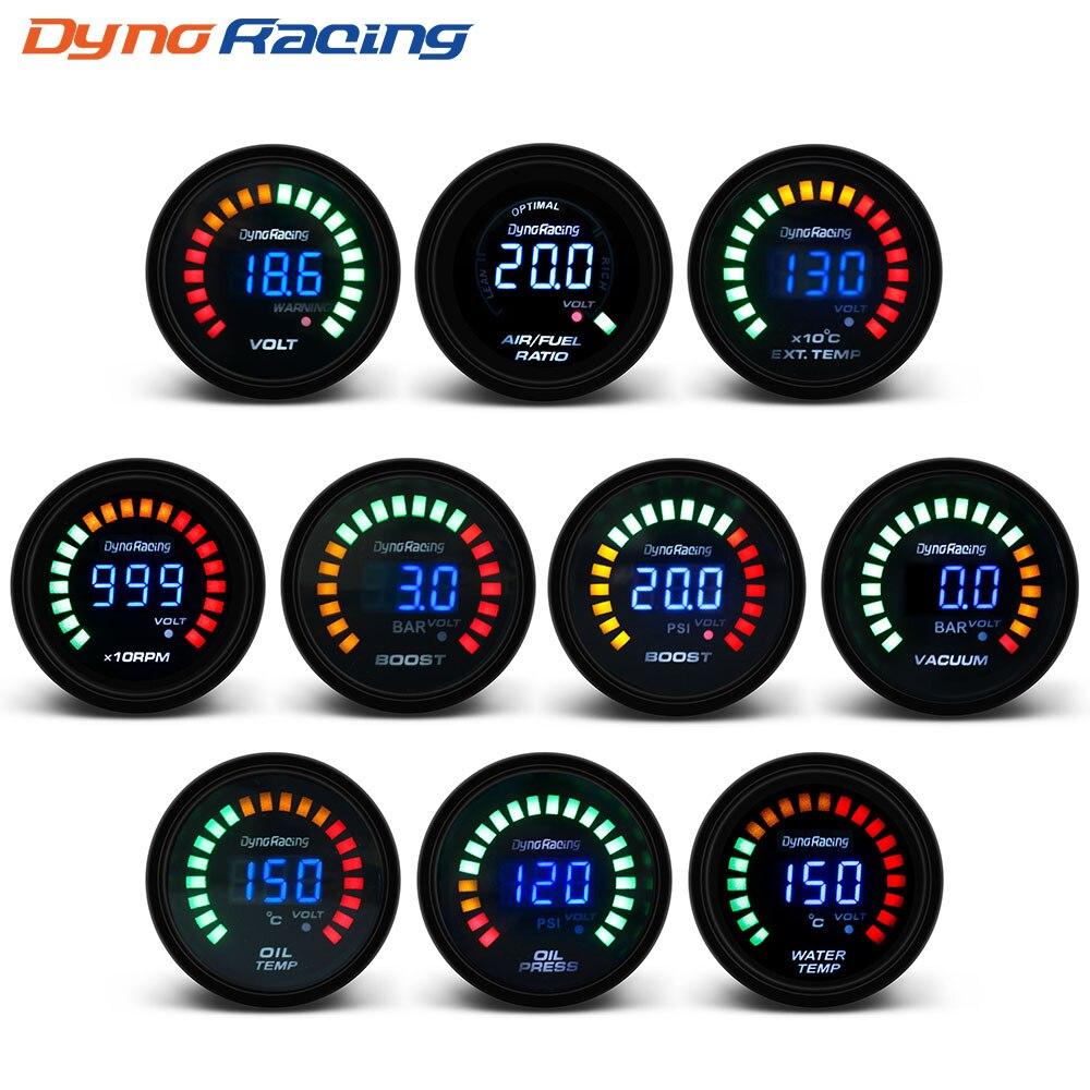 Цифровой вольтметр Dynoracing, вольтметр с 20 светодисветодиодный, давление в квадратный дюйм, температура воды, температура масла, соотношение в...