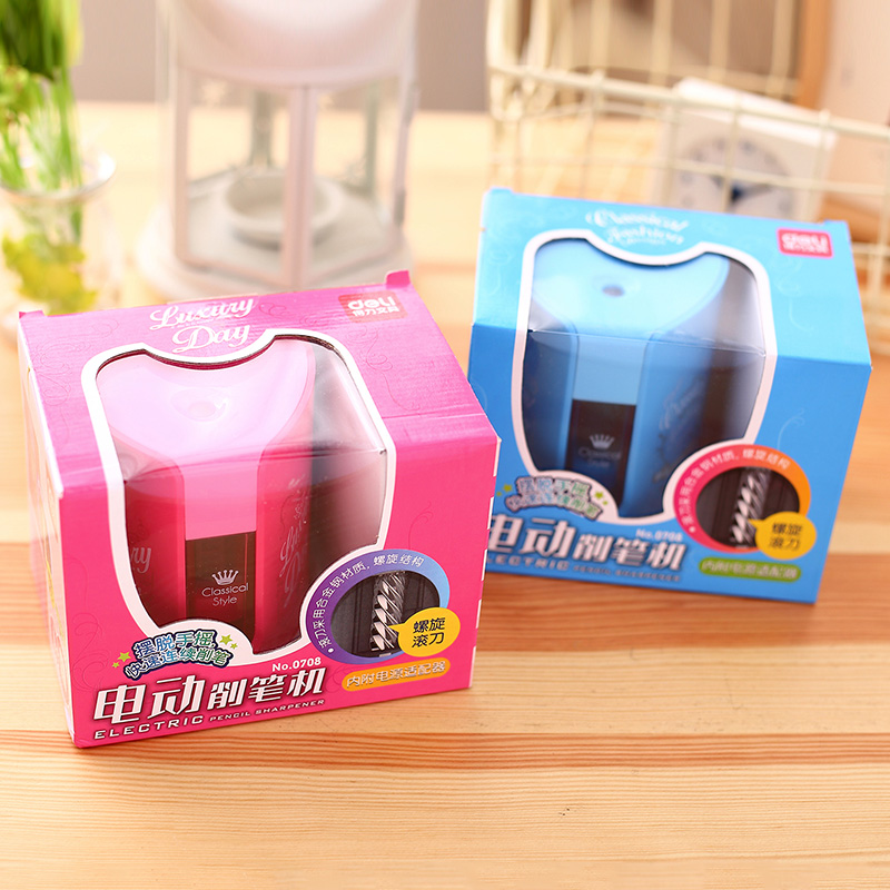 Deli Crown School Electric pencil sharpener Stationery Office Home Supplies Automatic Desktop Pencil Sharpeners for kids 2 color 2016 new affordable electric pencil sharpener automatic desktop school stationery office kids