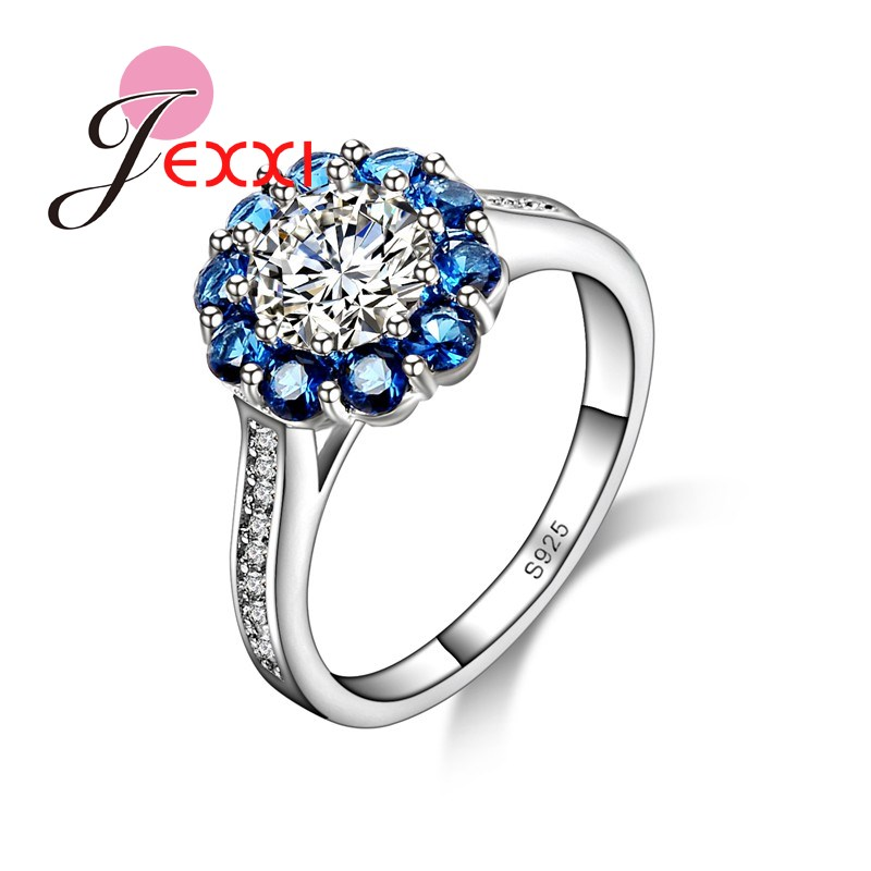 JEXXI Sapphire Crystal Fashion 925 Sterling Silver Rings Jewelry Wedding Engagement Bijoux Fine Birthdays Gift Gorgeous Design