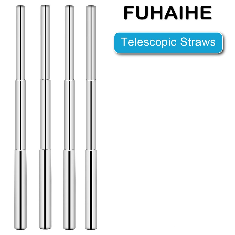 FUHAIHE  1/2/4pcs Reusable Drinking Straw Stainless Portable Straight Metal Telescopic Tool Party Bar Accessory