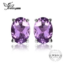 Jewelrypalace oval 1.4ct natural purple amethyst birthstone stud pendientes pure 925 plata esterlina 2016 joyería fina para las mujeres