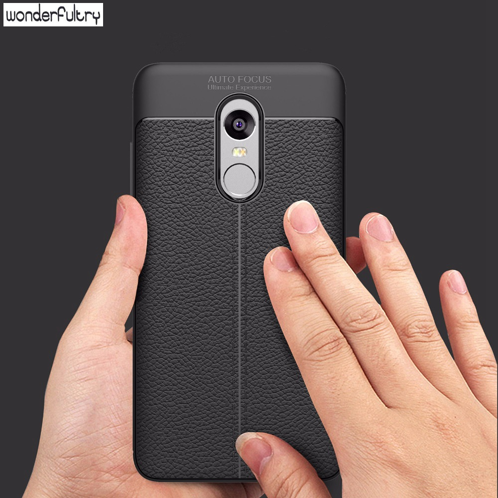 Wonderfultry Shockproof Armor Carbon Case for Xiaomi Redmi Note 4X Soft TPU Silicone for Xiaomi Redmi Note 4 Cover Leather