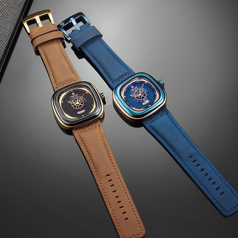 KADEMAN Men Watch Square Design Sport Leather Watch TOP Brand Fashion Quartz Wristwatches 2019 Business Casual Relogio Masculino in Quartz Watches from Watches