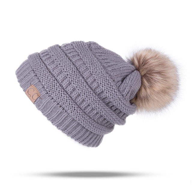 Knitted Winter Pompom Beanie