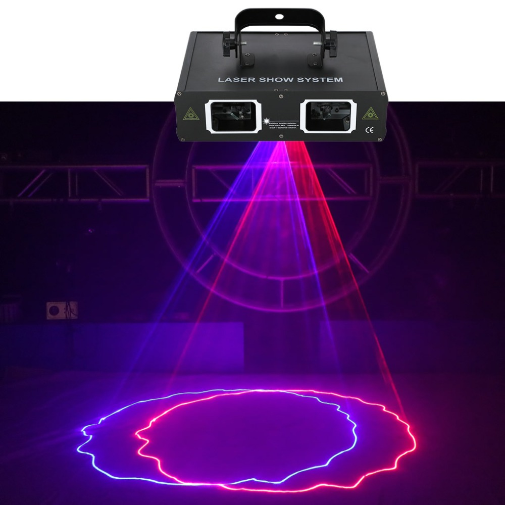 AUCD 2 Lens Red Blue RB Beam Pattern Laser Light DMX 7CH PRO DJ Party Club Bar KTV Holiday Wedding Stage Lighting  DJ-506RB aucd 2 lens red blue rb beam pattern laser light dmx 7ch pro dj party club bar ktv holiday wedding stage lighting dj 506rgb