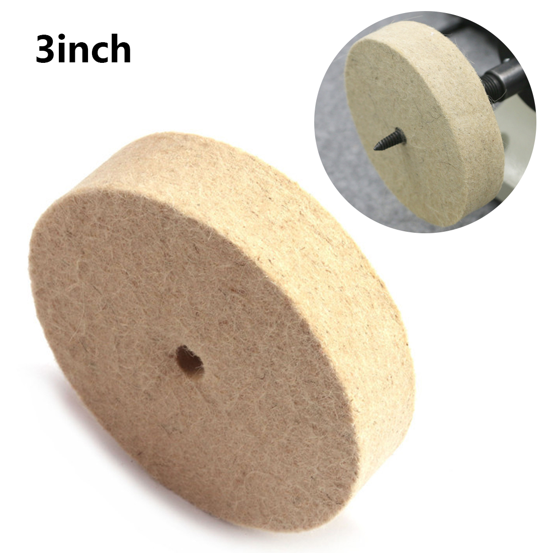 Abrasive Disc 3 Inch 80mm Drill Grinding Wheel Buffing Wheel Felt Wool Polishing Pad For Bench Grinder Rotary Tool