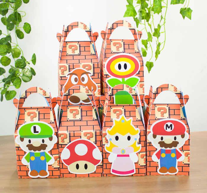Mario Bros Caixa Do Favor Caixa de Doces Caixa de Presente Caixa Do Queque Menino Crianças Fontes do Partido de Aniversário Decoração Fontes Do Partido Do Evento