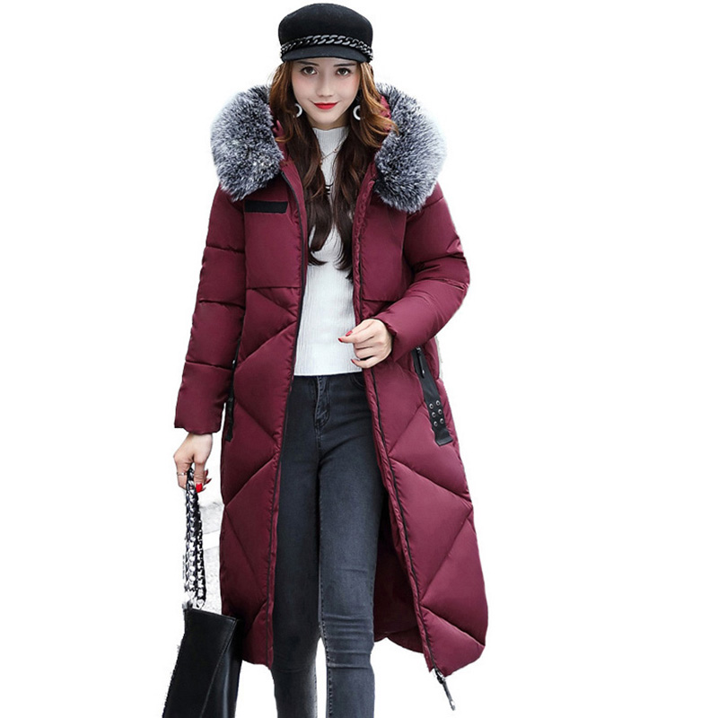 Winter Coat Women Large Artificial fur collar Hooded Long Jacket Thicken Warm snow Parka female outerwear plus size coats QH0653 2015 hot thicken warm woman down jacket hooded fox fur collar luxury coats outerwear parka slim brand mid long