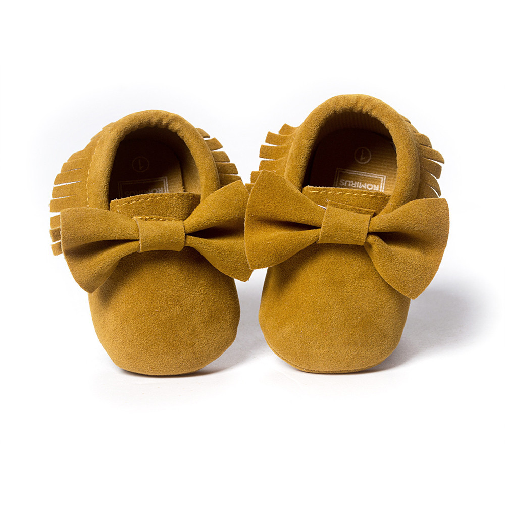 ROMIRUS PU Leather Newborn Baby Boy Girl Crib Tassels Bowknot Shoes Toddler Sneakers Casual Shoes Non-slip Footwear Crib Shoes