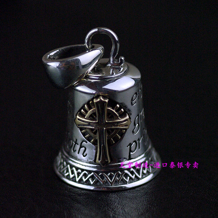 Thailand imports, GV new good Vibrations 925 sterling silver bell Cross Pendant thailand imports skull blood new skeleton silver ring