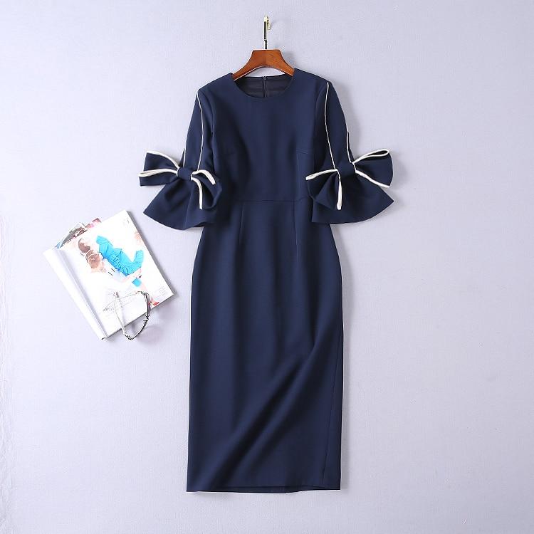 2019 Femmes Printemps Manches Arc Arrivée De Mince Robe Nouvelle 181205li01 Bleu Moitié TUvxfqnF
