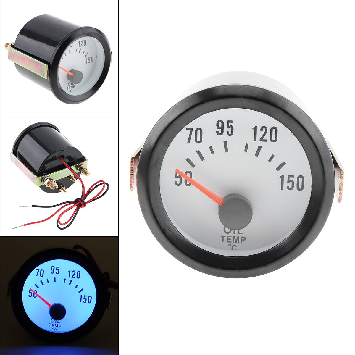 Oil Temperature Meter Smoke Lens 12 Volt Back Lit Gauge 270 Deg 7 Color