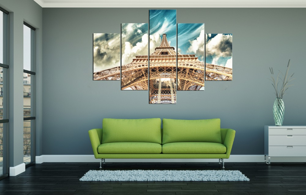 5 panels oil painting The Eiffel Tower in Paris canvas painting art home decoration wall pictures for living room Free Shipping in Painting Calligraphy