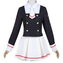 Аниме Косплей карточка Captor Sakura Cos японская Униформа на каждый день для женщин и девочек Kinomoto Sakura Косплей Костюм Топ+ юбка+ галстук+ носки