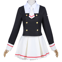 Anime Cosplay Card Captor Sakura Cos Japanese uniform Daily Woman Girls Kinomoto Sakura Cosplay Costume Top+skirt+tie+socks