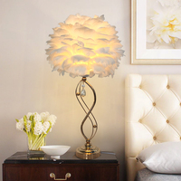 Modern feather crystal gold Table lamps bedside reading room living room bedroom EU plug E27 illumination lamps