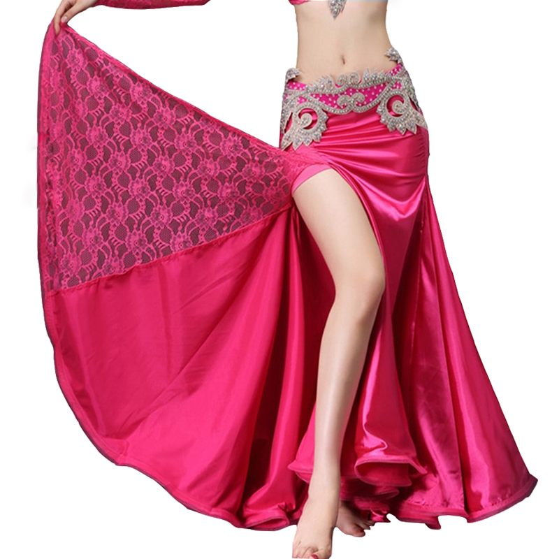 2018 Belly Dancing Clothes Professional Long Fish Tail Skirts Wrapped Skirt Lace Women Belly Dance Satin Skirts (without belt)