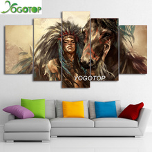 YOGOTOP DIY Diamond Painting Cross Stitch Kits Full Diamond Embroidery 5D Diamond Mosaic Decor Indians Girl horse 5pcs ML230 yogotop diy diamond painting cross stitch kits full diamond embroidery 5d diamond mosaic decor colorful butterfly 5pcs ml307