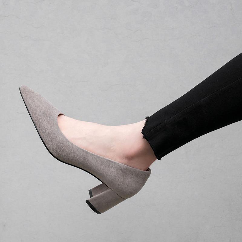 Travail Automne Chaussures Et Tous Printemps Jours Moutons Daim Épais Peu Dames Talon Bouche Profonde Sauvage Pointu Les Avec 641qw1
