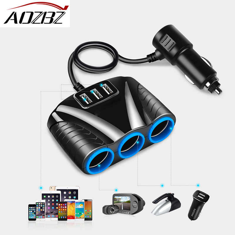 AOZBZ USB Car Cigarette Lighter Socket Splitter Hub Power Adapter 12V-24V 3USB 5V for iPhone iPad Smartphone Car Kits DVR GPS