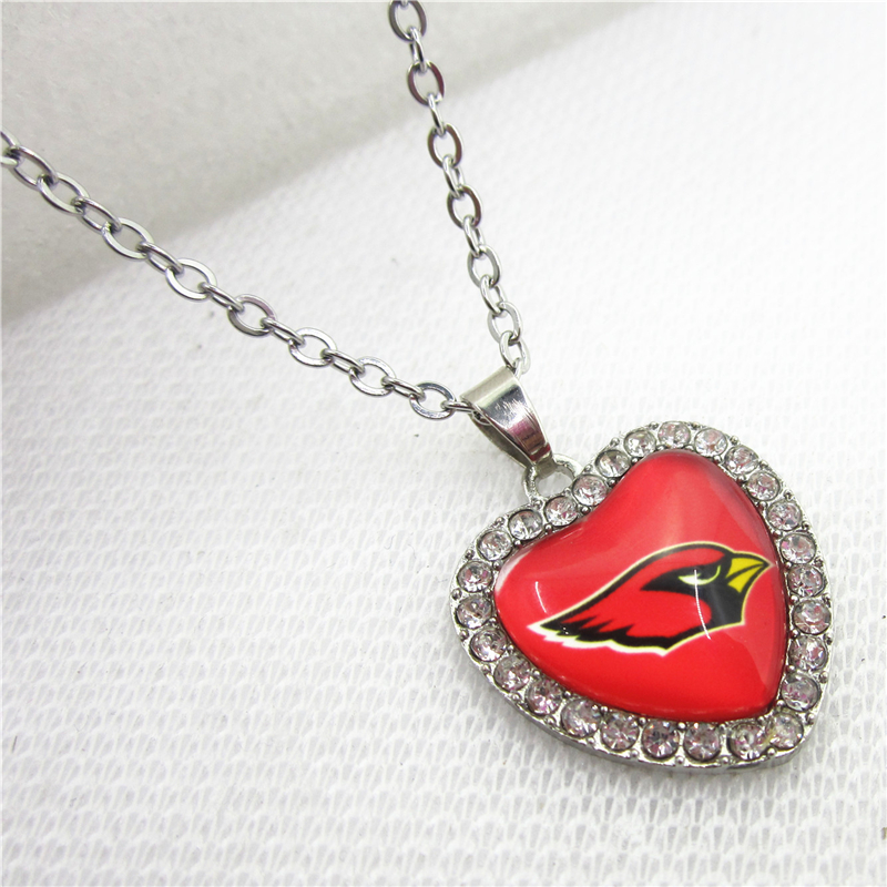 10pcs/lot USA Arizona Cardinals Heart Necklace Pendant Jewelry With Chains Necklace DIY Jewelry Football Sports Charms