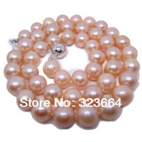 9 10 MM SALTWATER GENUINE PINK PEARL NECKLACE 18 AAA